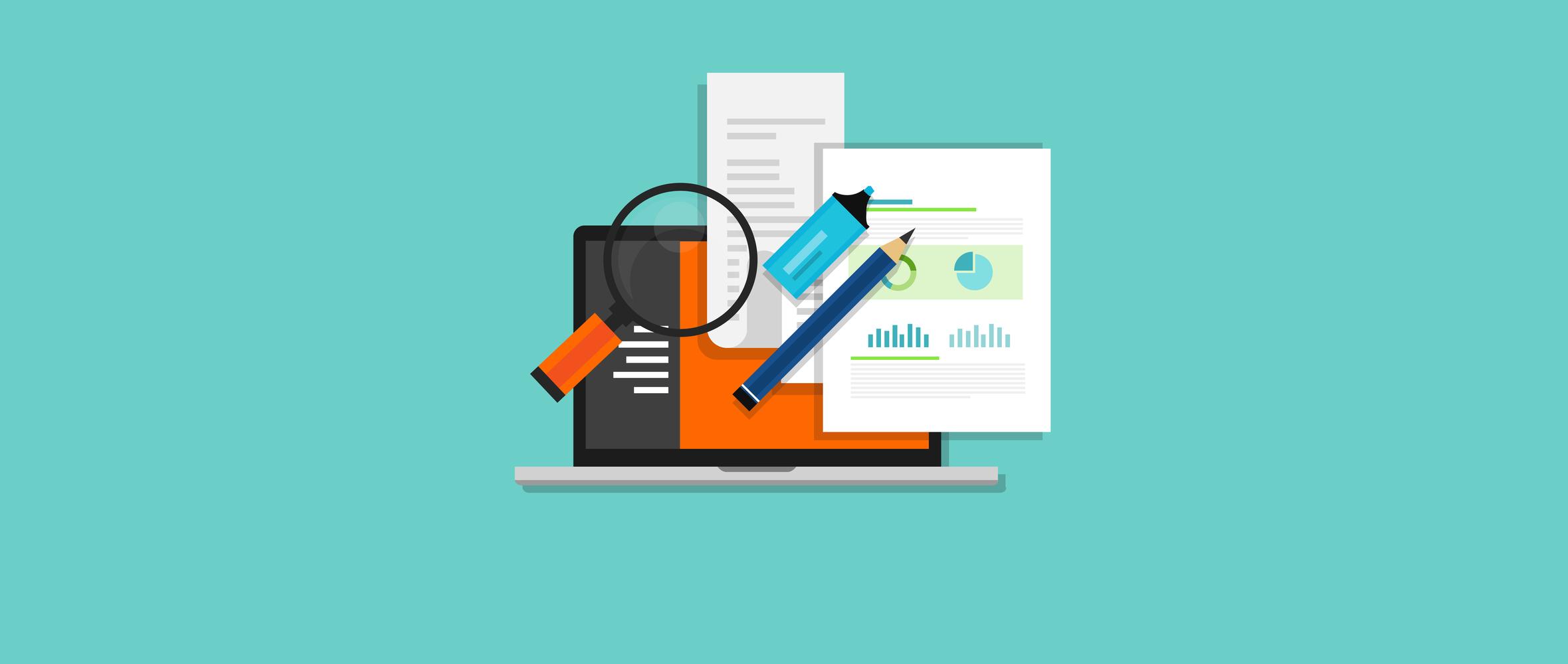 case study studies icon flat laptop magnifier learn analysis